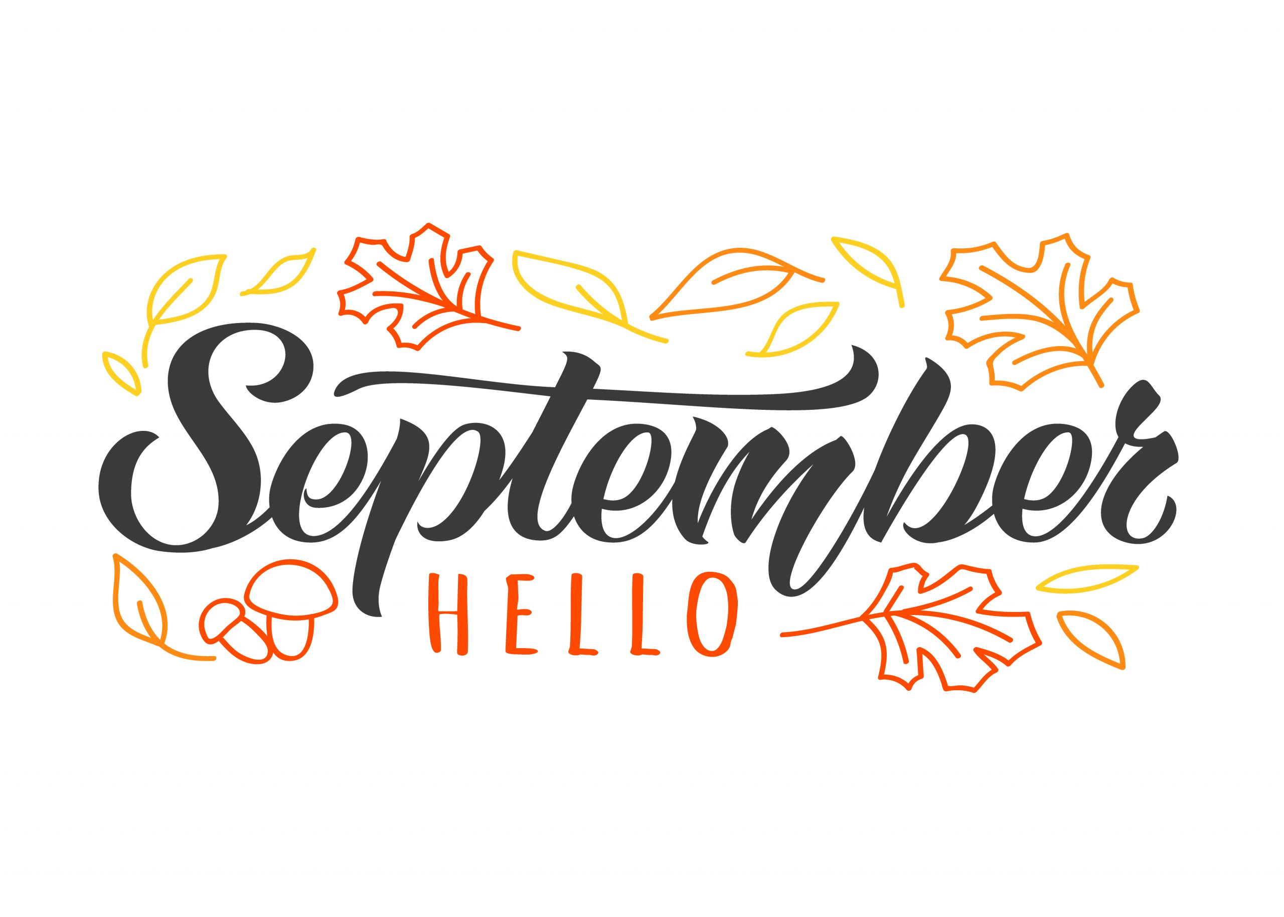 Hello September hand drawn lettering card with doodle leaves and